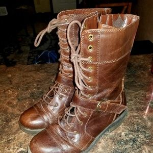 White mountain flyman brown leather boots